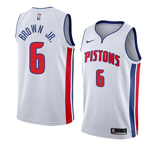 Camiseta baloncesto Bruce Brown JR. 6 Association 2018 Blanco Detroit Pistons Hombre