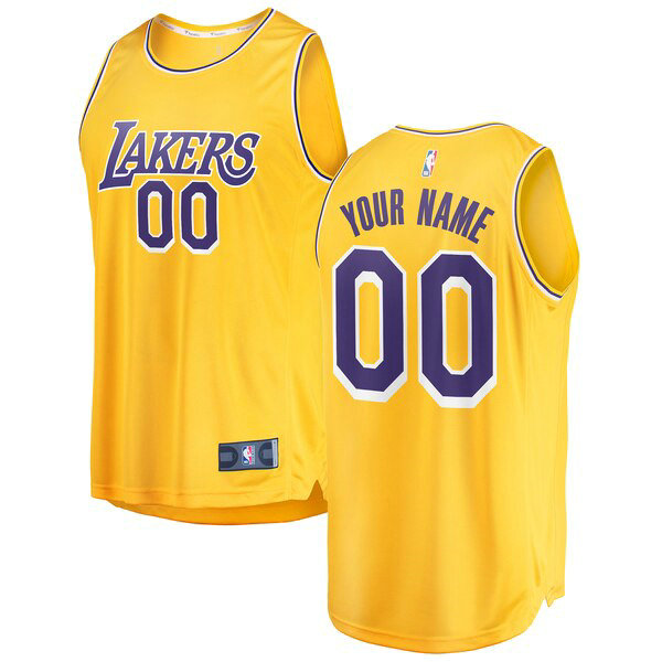 Camiseta baloncesto Custom 0 2018-2019 Icon Edition Amarillo Los Angeles Lakers Hombre