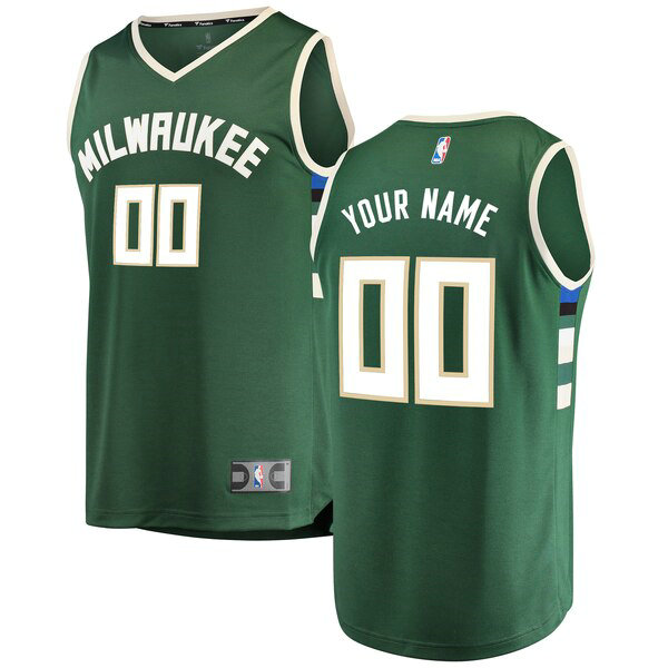 Camiseta baloncesto Custom 0 Icon Edition Verde Milwaukee Bucks Hombre