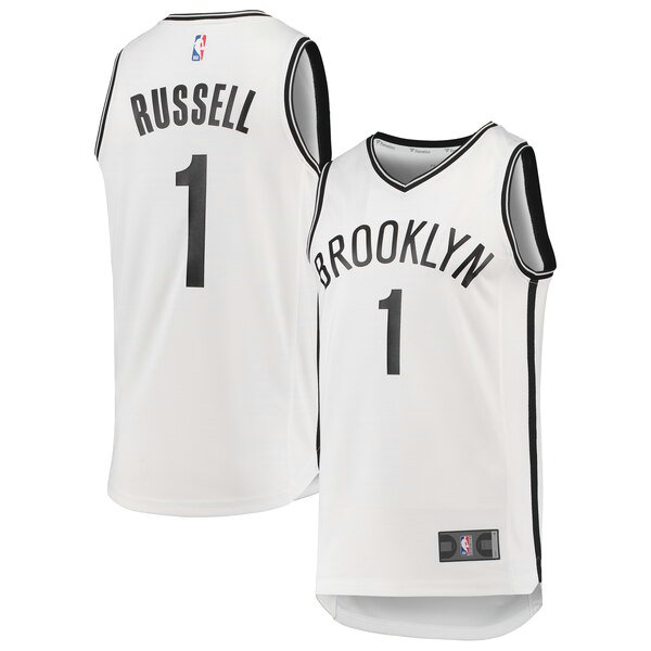 Camiseta baloncesto D'Angelo Russell 1 2019 Blanco Brooklyn Nets Hombre