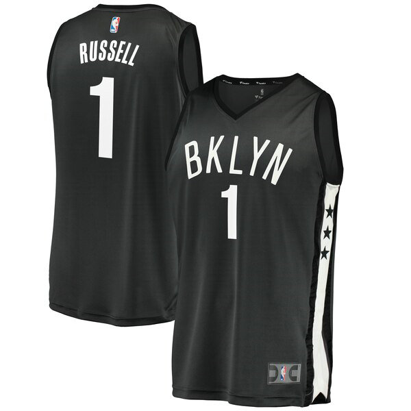 Camiseta baloncesto D'Angelo Russell 1 2019 Negro Brooklyn Nets Hombre