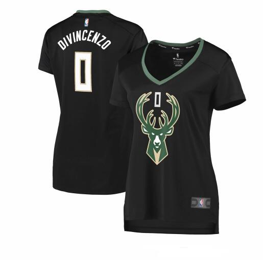 Camiseta baloncesto Donte DiVincenzo 0 statement edition Negro Milwaukee Bucks Mujer