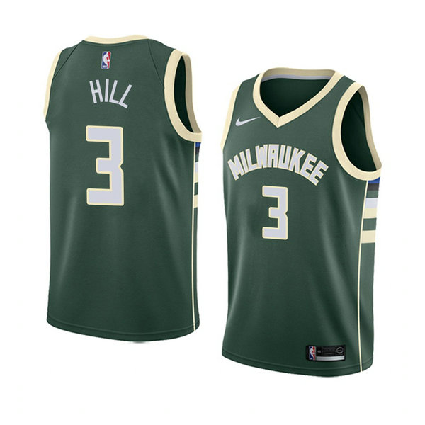 Camiseta baloncesto George Hill 3 Icon 2018 Verde Milwaukee Bucks Hombre