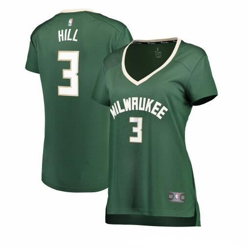 Camiseta baloncesto George Hill 3 icon edition Verde Milwaukee Bucks Mujer