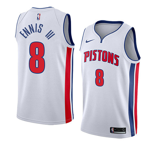 Camiseta baloncesto James Ennis III 8 Association 2018 Blanco Detroit Pistons Hombre