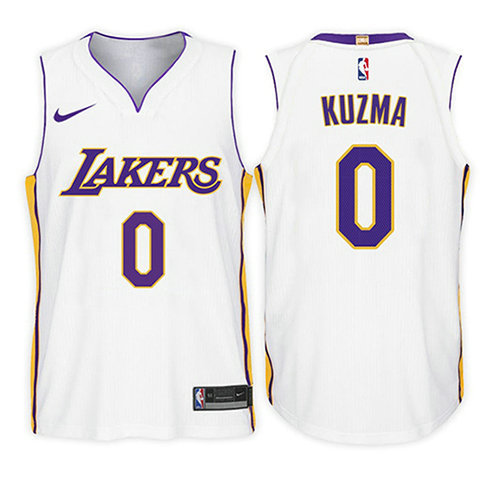 Camiseta baloncesto Kyle Kuzma 0 Association 2017-18 Blanco Los Angeles Lakers Nino