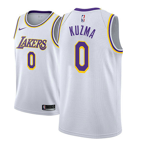 Camiseta baloncesto Kyle Kuzma 0 Association 2018 Blanco Los Angeles Lakers Hombre