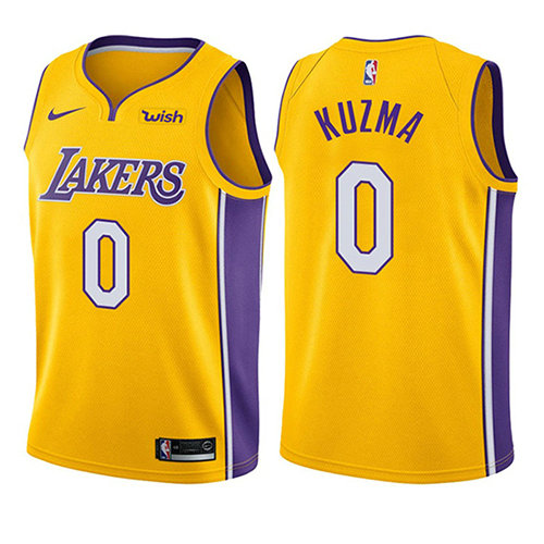 Camiseta baloncesto Kyle Kuzma 0 Icon 2017-18 Oro Los Angeles Lakers Nino