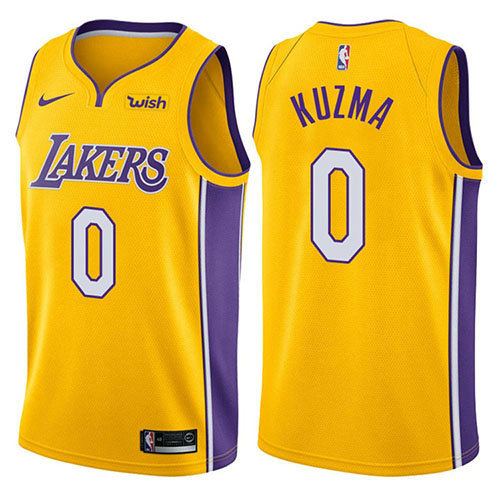 Camiseta baloncesto Kyle Kuzma 0 Icon 2018 Amarillo Los Angeles Lakers Hombre