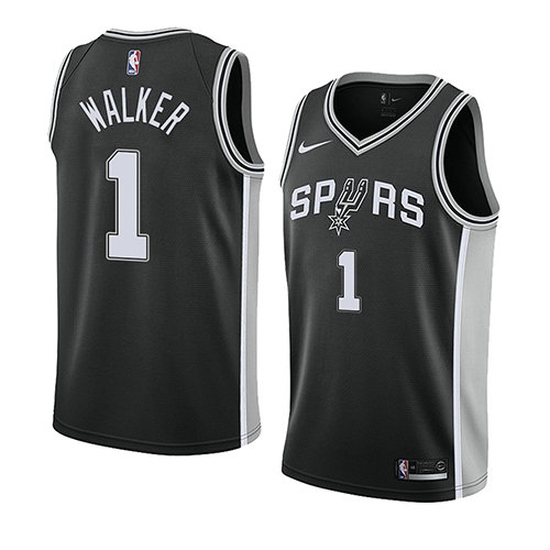Camiseta baloncesto Lonnie Walker 1 Icon 2018 Negro San Antonio Spurs Hombre