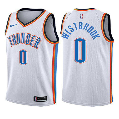 Camiseta baloncesto Russell Westbrook 0 Association 2017-18 Blanco Oklahoma City Thunder Nino