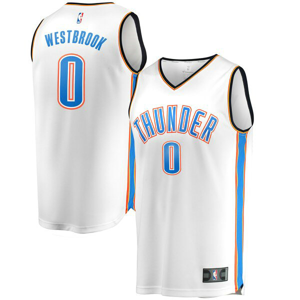 Camiseta baloncesto Russell Westbrook 0 Association Edition Blanco Oklahoma City Thunder Hombre