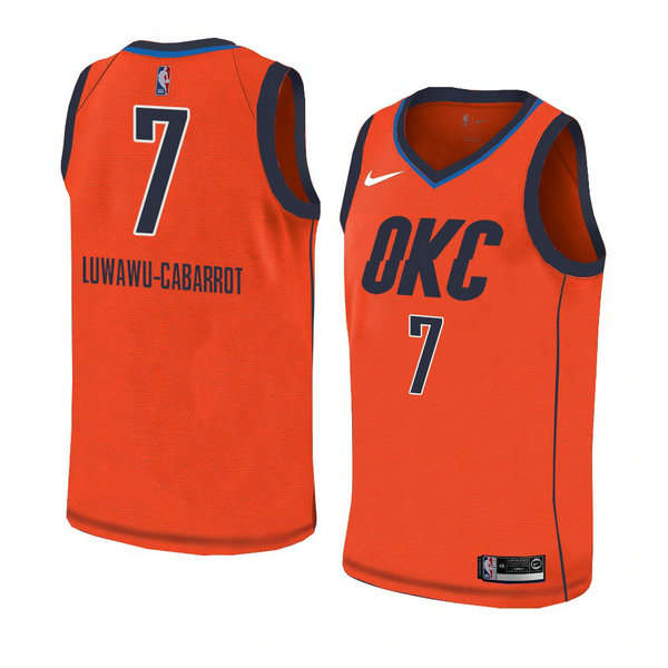Camiseta baloncesto Timothe Luwawu-Cabarrot 7 Earned 2018-19 Naranja Oklahoma City Thunder Hombre