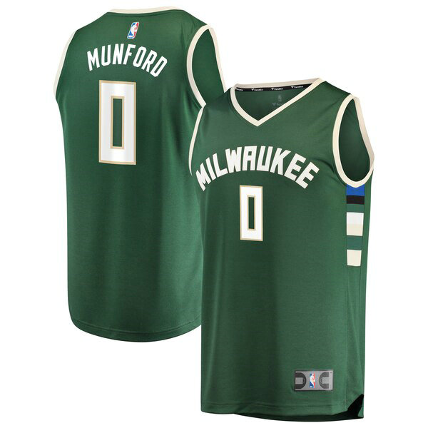 Camiseta baloncesto Xavier Munford 0 Icon Edition Verde Milwaukee Bucks Hombre