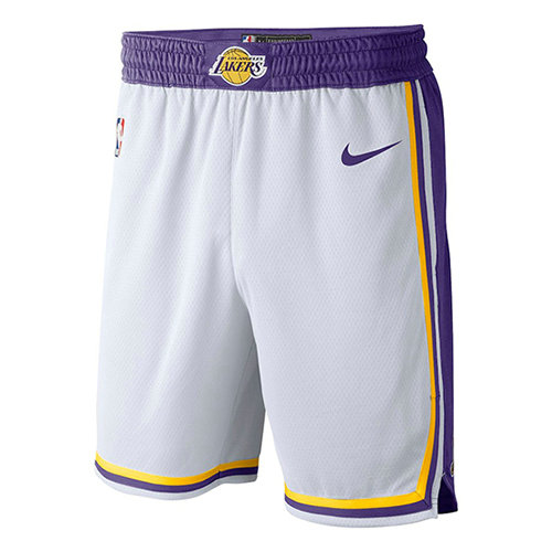 Pantalones Cortos baloncesto Association 2018-19 Blanco Los Angeles Lakers Hombre