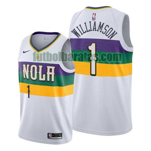 camiseta city edition 2020 zion williamson 1 new orleans pelicans blanco hombro