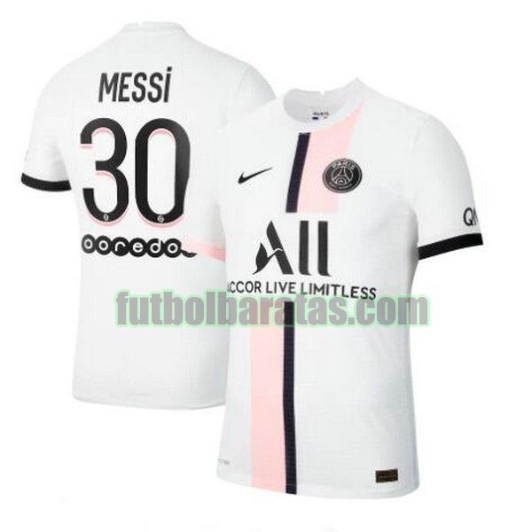 camiseta messi 30 paris saint germain 2021 2022 blanco segunda